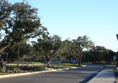 Landscaped entry drive and tree lined median