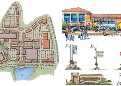 Town Centre plan, plaza and site furnishing design alternatives