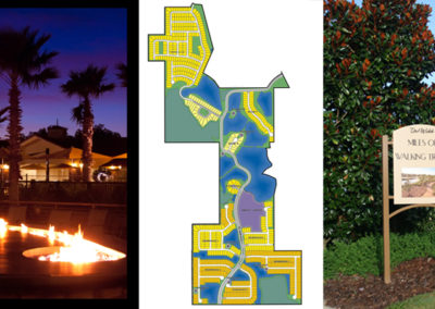 Fire pit at night (©Morgan Photo Studio), community lotting plan and community trail sign