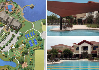 Montecito Clubhouse amenity center site plan, resort pool and activity building