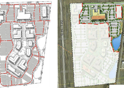 Campus parking and vehicular circulation plan and Phase 1 site plan