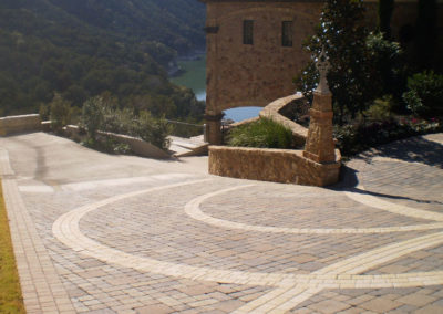 Motor court custom paving and landscape design