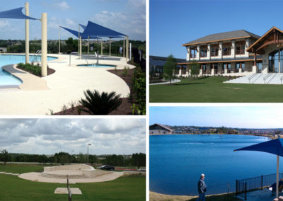 Clockwise from top left: resort pool walk in entry, event lawn, fishing pond and amphitheater