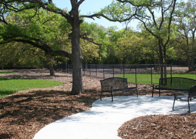 Dog park seating area