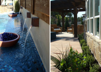 Fire bowls and wall mounted fountains create visual interest & planting bed softens built environment