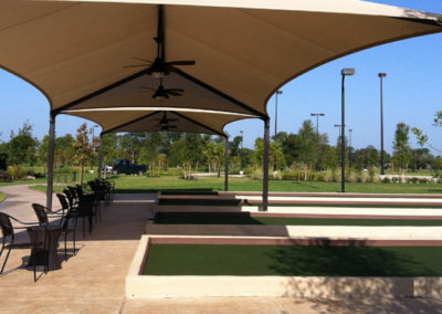 Bocce ball courts, seating and shade structure