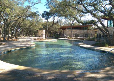 Resort pool incorporating tree preservation