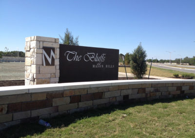 The Bluffs neighborhood sign